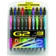 G2 07 Retractable Gel Ink pen 20 Pack - 5 Black, 2 Blue, 2 Red, Green, Purple, Pink, Turquoise, Burgundy,Hunter Green,  Navy, Orange, Periwinkle, Lime Green, Brown, Teal