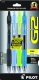 G2 07 Retractable Gel Ink pen in Teal, Periwinkle, Lime Green and Teal. 4 - pack